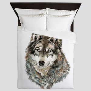 Watercolor Grey, Gray Wolf Animal Painting Queen D