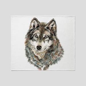 Watercolor Grey, Gray Wolf Animal Painting Throw B