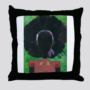 Girl with the Big Afro Throw Pillow
