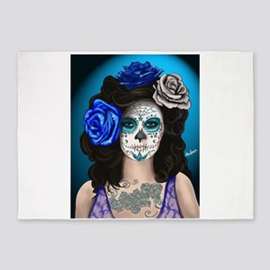 Blue Rose Muertos Pin-up Portrait 5'x7'Area Rug