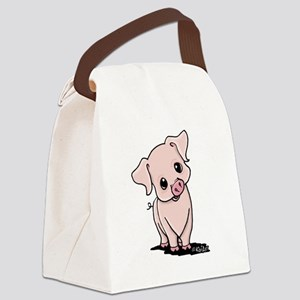Curious Piggy Canvas Lunch Bag