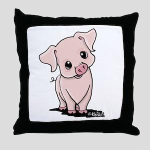 Curious Piggy Throw Pillow