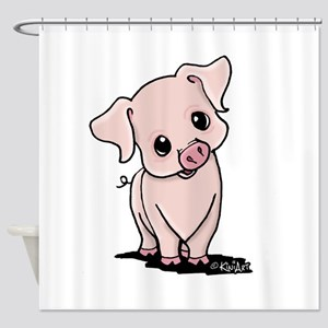 Curious Piggy Shower Curtain
