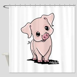 Curious Piggy Shower Curtain