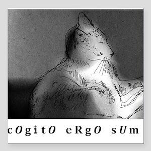 "COGITO ERGO SUM Square Car Magnet 3"" x 3"""