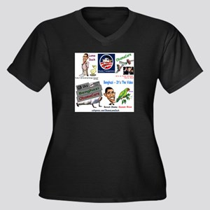 Collage Women's Plus Size V-Neck Dark T-Shirt