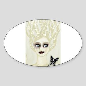 boston terrier vintage ghost woman Sticker