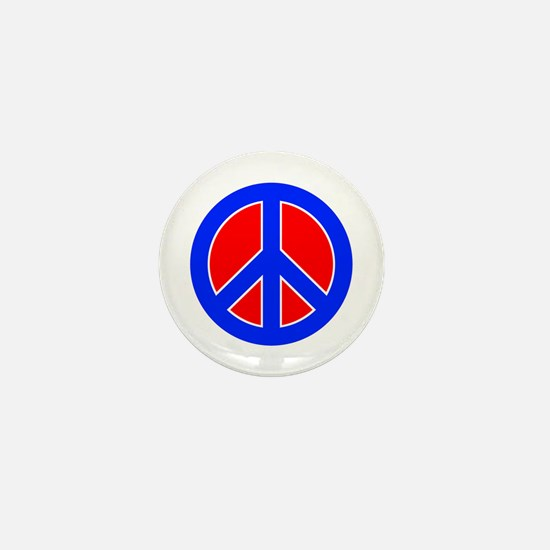 Red White and Blue Peace Sign Mini Button