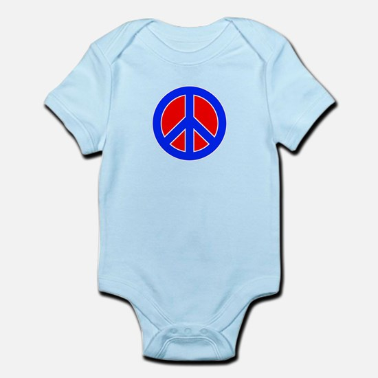 Red White and Blue Peace Sign Body Suit