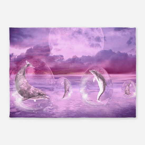 Dream Of Dolphins 5'x7'Area Rug