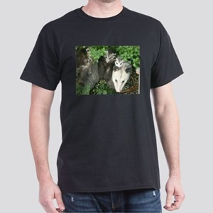 mother opossum in garden with babies face T-Shirt