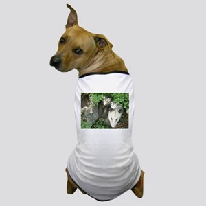 mother opossum in garden with babies f Dog T-Shirt