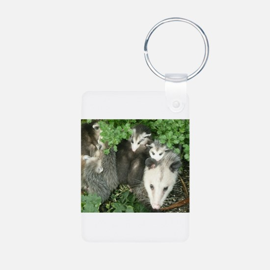 mother opossum in garden with babies fac Keychains