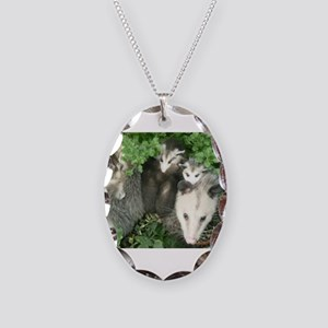 mother opossum in garden with Necklace Oval Charm