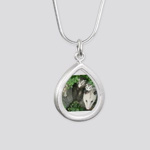 mother opossum in garden with babies fac Necklaces