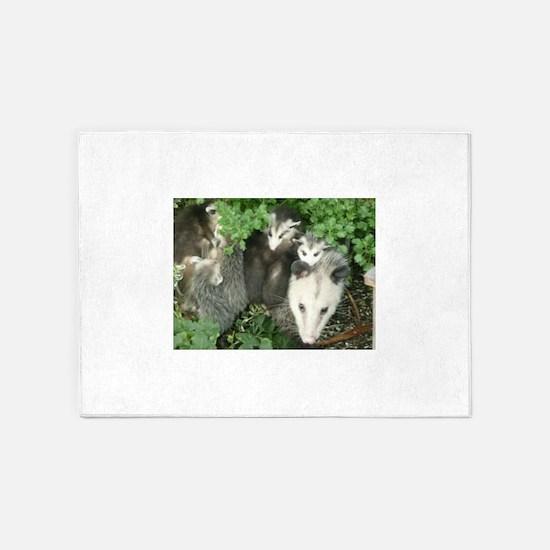 mother opossum in garden with babie 5'x7'Area Rug