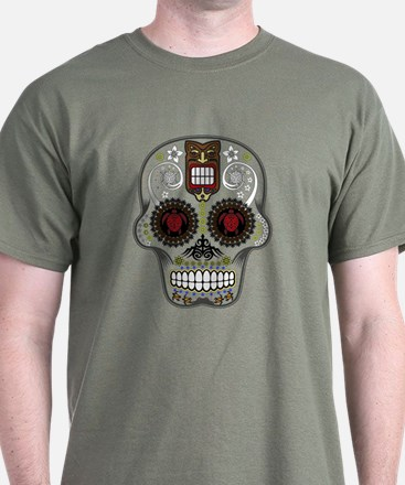 CANDY SKULL-Hawiian Shirt-ghost outline T-Shirt