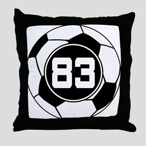 Soccer Number 83 Player Throw Pillow