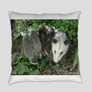 mother opossum with babies in gard Everyday Pillow