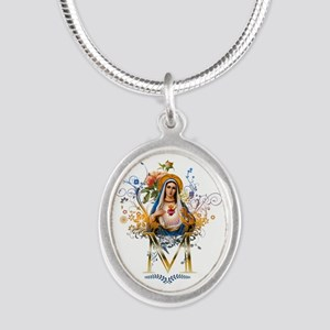 Immaculate Heart of Mary Silver Oval Necklace