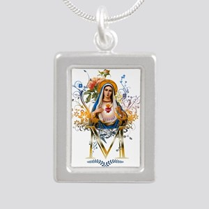 Immaculate Heart of Mary Silver Portrait Necklace