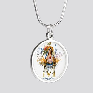 Immaculate Heart of Mary Silver Round Necklace