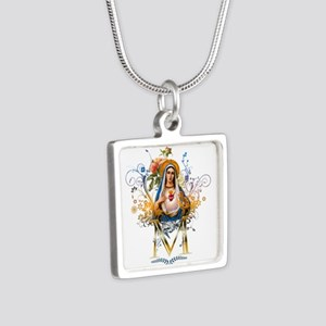 Immaculate Heart of Mary Silver Square Necklace