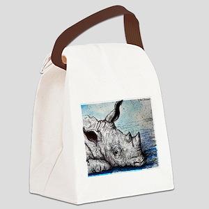 Rhino! Wildlife art! Canvas Lunch Bag