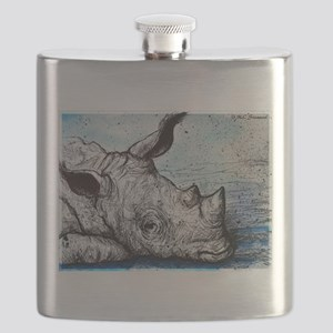 Rhino! Wildlife art! Flask
