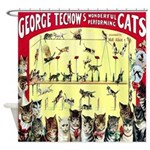 Vintage Cat Circus Poster Shower Curtain