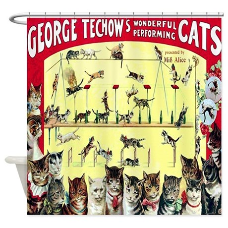 Vintage Cat Circus Poster Shower Curtain By Rebeccakorpita