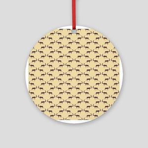 Deer Stag Pattern on Beige. Ornament (Round)