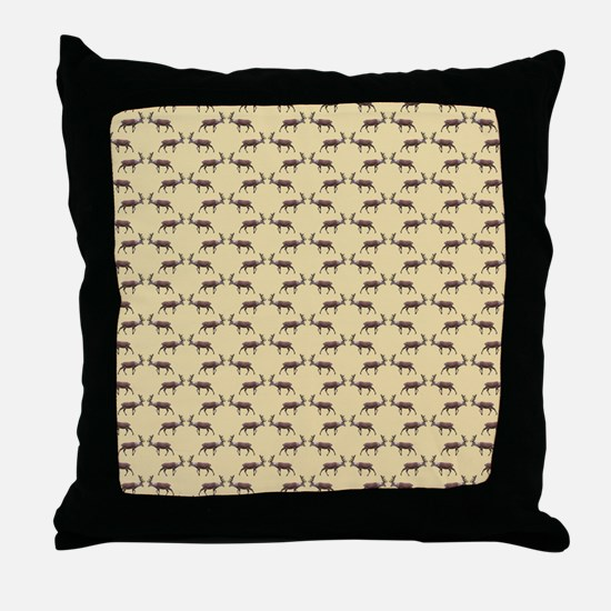 Deer Stag Pattern on Beige. Throw Pillow