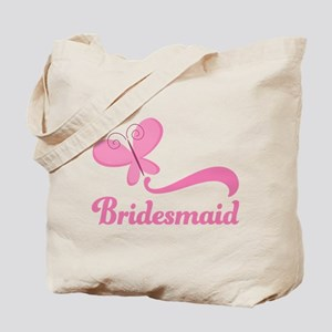 Bridesmaid Pink Butterfly Tote Bag
