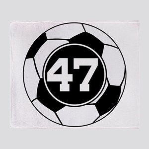 Soccer Number 47 Player Throw Blanket