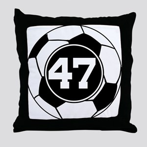 Soccer Number 47 Player Throw Pillow