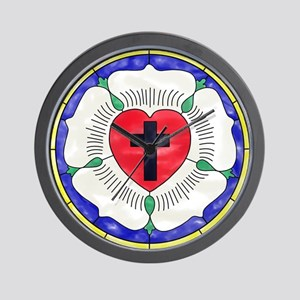 Luther Seal Stained Glass Window Wall Clock