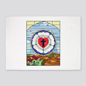 Luther Seal Stained Glass Window 5'x7'Area Rug