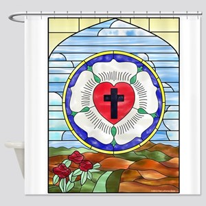 Luther Seal Stained Glass Window Shower Curtain
