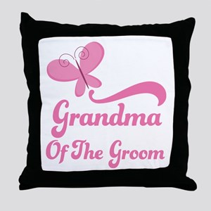 Grandma of the Groom Butterfly Throw Pillow