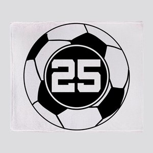 Soccer Number 25 Player Throw Blanket