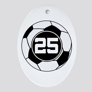 Soccer Number 25 Player Ornament (Oval)