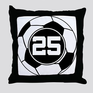 Soccer Number 25 Player Throw Pillow