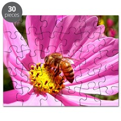 Honey Bee on Pink Wildflower Puzzle