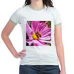 Honey Bee on Pink Wildflower Jr. Ringer T-Shirt