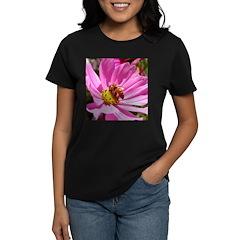 Honey Bee on Pink Wildflower Women's Dark T-Shirt