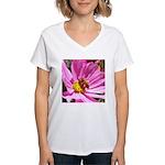 Honey Bee on Pink Wildflower Women's V-Neck T-Shir