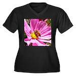 Honey Bee on Pink Wildflower Women's Plus Size V-N