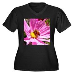 Honey Bee on Pink Wildflower Women's Plus Size V-N