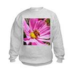 Honey Bee on Pink Wildflower Kids Sweatshirt